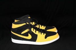 Nike Air Jordan Retro 1 Mid Reverse New Love Black Yellow Size 18. - $82.44