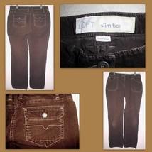Ann Taylor Loft Slim Boot Brown Corduroy Low Rise Stretch Pants Sz 4 Women's - $15.83