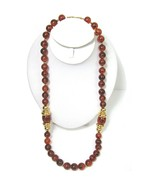 """Vtg Napier Amber Brown Faux Tortoise Clear Bead Necklace Chunky Gold 29""""... - $21.77"""