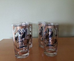 6 Mid Century Modern Fred Press Trojan Horse Glass High Ball Tumblers EUC - $59.40