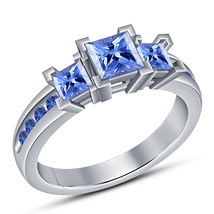 Princess Cut Blue Sapphire 925 Sterling Silver Womens Wedding Engagement... - $71.99