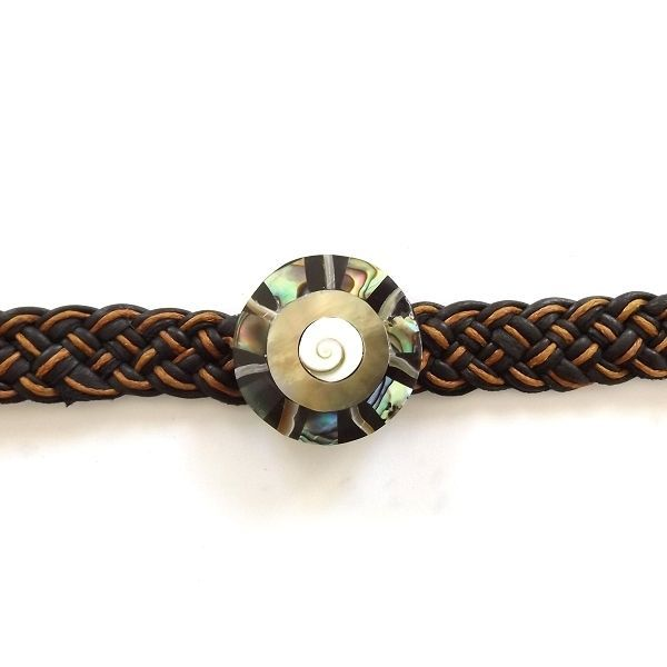ABALONE SHELL LEATHER WOVEN TIE ON BRACELET ORANGE AND BLACK MOTHER OF PEARL image 2