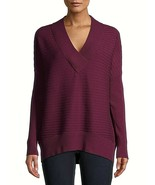 Time And Tru Women's V Neck Pullover Sweater LARGE (12-14) Wine Fusion P... - $21.77