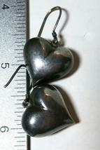 VINTAGE STERLING SILVER PUFFY HEART EARRINGS - $40.00