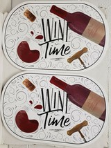 "Set of 2 Vinyl Non Clear Oval Placemats(18""x12"") WINE TIME,WINE BOTTLE &... - $11.87"