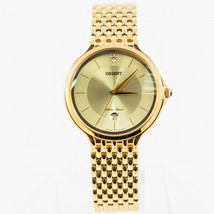 Orient Men's Quartz Watch Funf7002c0 Gold Date Dial and Bracelet BRAND - $88.19