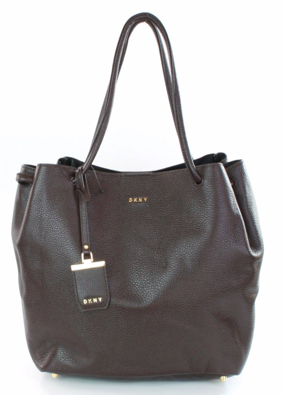 Primary image for DKNY Donna Karan Dark Brown Leather Shoulder Bag Medium Handbag RRP £315