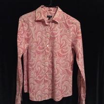 Talbots Womens Sz 2 Pink Paisley Longsleeve Button Up Cotton Blouse - $19.79