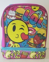 Emoji LOL Pink Light Blue Lunch Bag Dual Compartment Insulated  NEW With... - $19.43