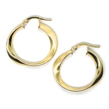 18K YELLOW GOLD CIRCLE OVAL HOOPS ONDULATE EARRINGS , SATIN & SMOOTH, 27 MM image 3