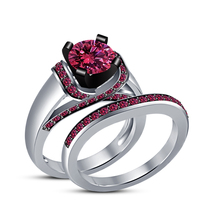 White Gold Plated 925 Sterling Silver Pink Sapphire Engagement Bridal Ri... - $86.99