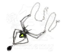 SteamPunk Victorian Alchemy Gothic Pewter Emerald Venom Necklace, NEW UN... - $45.46