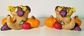 PartyLite P7370 HARVEST TIME Pair Taper Candle Holder Thanksgiving (G7-7) - $28.70