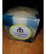 HomeTrends Home Decor Nice Candle Square Checkered White and Blue - $2.93