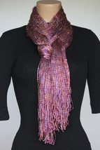 NEW Collection 18 Eighteen Women's Neck Scarf Fringed Pink Fever Silver ... - $10.88