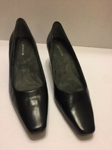 Black Pumps Aerosoles Women's 8 1/2 Shoes Rounded Pointed Toe Leather - $14.01