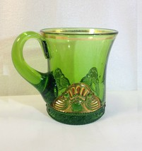 EAPG US Glass Lacy Medallion Souvenier MOTHER 1905 Coffee Cup Green Gold... - $14.95
