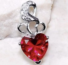 Genuine 925 Sterling Silver One Carat Red Ruby Heart Pendant Necklace - $16.78