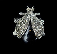 """Vintage Sterling Silver Marcasite Bumble Bee Insect Cute Brooch Pin 2"""" - $53.99"""