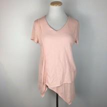 Soft Surroundings Women's Asymmetric Pink Tee Shirt Size Petite XS Extra... - $23.75