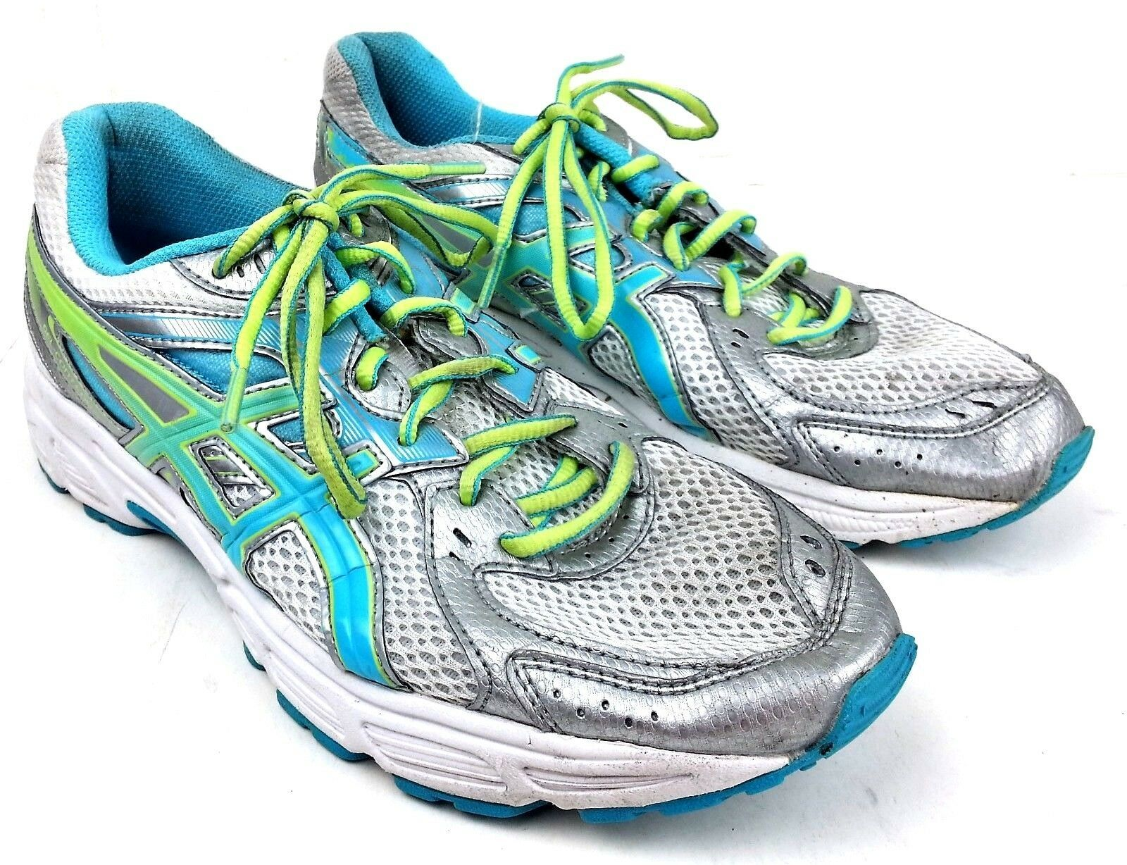 Asics Womens Gel Contend 2 Running Shoes Size 9.5 Sneakers T474N Silver Teal