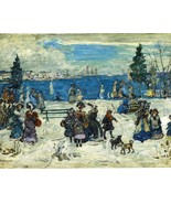 Snowy winter scene Maurice Prendergast  Snow in April fine art 8 x 10 print - $7.50