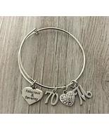 70th Birthday Bangle Bracelet with Letter Charm, Fabulous and Seventy Bi... - $19.99
