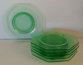 Lot 6 Vintage Green Depression Vaseline Glass 8... - $18.69