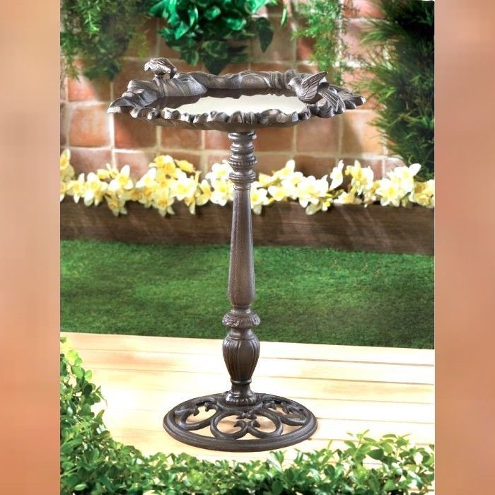 "Cast Iron 23.8"" FOREST FROLIC Bird Bath"