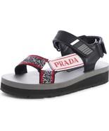 Prada Black Leather Flat Sport Sandals Open Toe Espadrilles Shoe Slides ... - $279.00