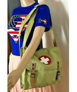 """Unisex Green Canvas Shoulder Bag with Adjustable Shoulder Strap 10"""" x 12... - $27.21"""