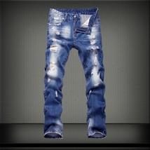 represent clothing designer pants slp blue/black destroyed mens slim den... - $49.26