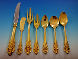 Golden Grande Baroque by Wallace Sterling Silver Flatware Set Dinner 57 pcs Gold - $5,150.00
