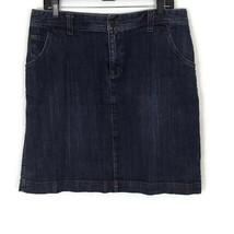 Eddie Bauer Womens Skirt Size 10 Medium Wash Flap Pockets Stretch Denim  - $18.29