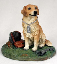 GOLDEN RETRIEVER w/ stump  MY DOG Figurine Statue Pet Lovers Gift Resin - $31.50