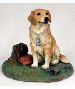 GOLDEN RETRIEVER w/ stump  MY DOG Figurine Statue Pet Lovers Gift Resin - $31.50