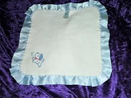 Gerber White Blue Puppy Dog Bone Baby Security Blanket Lovey Satin Lil C... - $31.67