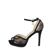 Womens Sexy Stiletto Sandals Shoes Laura Biagiotti - 423_CLOTH Black Bei... - $1.230,89 MXN