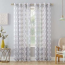 "No. 918 Powell Trellis Sheer Grommet Curtain Panel, 59"" x 95"", Gray - $16.42"