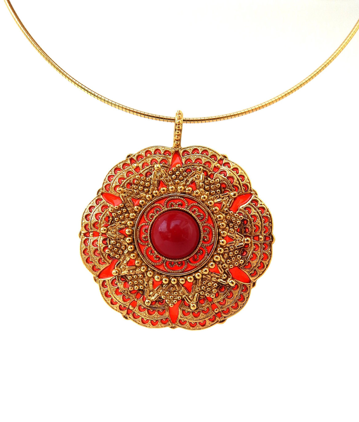 Primary image for JOAN RIVERS Necklace, Red and Gold Large Pendant Thin Collar Necklace Etruscan