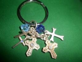 Key Chain Purse Fob Charm. with 5 cross charms,2 blue beads - $4.94