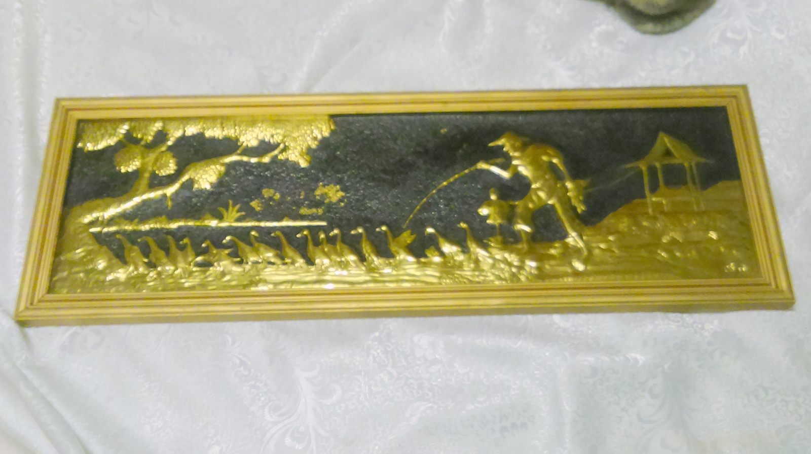Large Hammered Brass Asian Theme Picture Wall Hanging