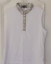 Stylish Women's Golf & Casual White Sleeveless Collar Top, Swarovski But... - $29.95