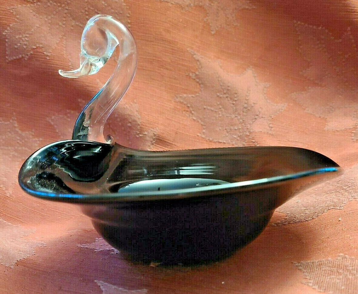 Vintage1950's Duncan & Miller Hand Blown Black and Clear Candy Trinket Dish