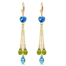9.5 Carat 14K Solid Gold Chandelier Earrings Briolette Blue Topaz Pe - $567.90