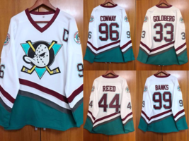 Mighty Ducks Movie D5 White Stitched Hockey Jersey Banks Conway Reed Gol... - $40.99