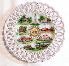 New Hampshire State Souvenir Lefton Plate Collectible NH State Seal Hand Painted - $18.99