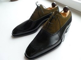 Handmade Men's Black & Brown Heart Medallion Leather & Suede Oxford Shoes image 1