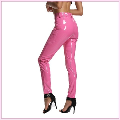 Bright Pink Tight Fit Faux Leather High Waist Front Zip Up Legging Pencil Pants