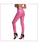 Bright Pink Tight Fit Faux Leather High Waist Front Zip Up Legging Penci... - $68.95